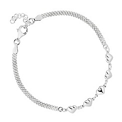 Simply Silver - Sterling silver polished heart mesh chain bracelet