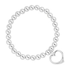 Simply Silver - Sterling silver heart charm ball stretch bracelet