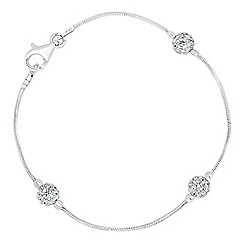 Simply Silver - Sterling silver triple crystal ball bracelet