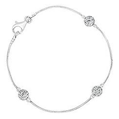 Simply Silver - Sterling silver triple crystal ball bracelet