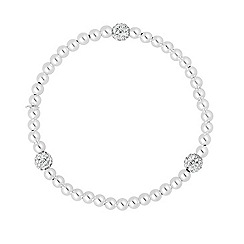Simply Silver - Sterling silver triple crystal ball pearl stretch bracelet