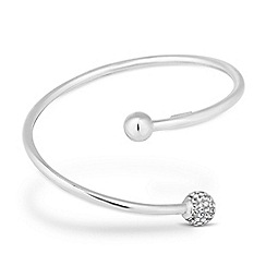 Simply Silver - Sterling silver polished and crystal encased ball cuff