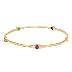 Simply Silver - Sterling silver multicoloured gold textured bangle