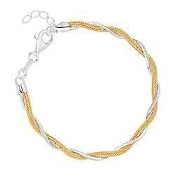 Simply Silver - Sterling silver gold twisted mesh and mirror chain bracelet