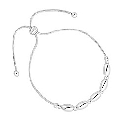 Simply Silver - Sterling silver polished oval bead bracelet
