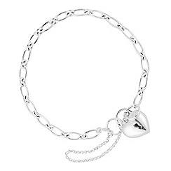 Simply Silver - Sterling silver polished heart padlock bracelet