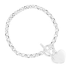 Simply Silver - Online exclusive sterling silver heart t bar bracelet