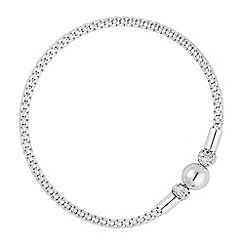 Simply Silver - Sterling silver crystal ball mesh stretch bracelet