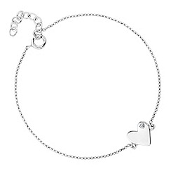 Simply Silver - Sterling silver cubic zirconia set heart charm bracelet