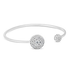 Simply Silver - Sterling silver cubic zirconia disc and ball open cuff