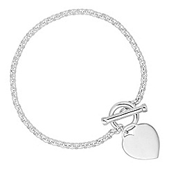 Simply Silver - Sterling silver polished heart t bar bracelet