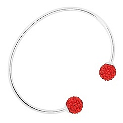 Simply Silver - Red crystal embellished ball cuff