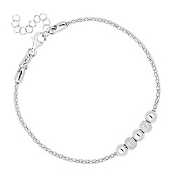 Simply Silver - Sterling silver polished and glitter ball bracelet