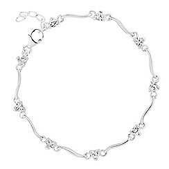 Simply Silver - Sterling silver cubic zirconia heart and wave link bracelet