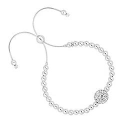 Simply Silver - Sterling silver crystal embellished ball toggle bracelet