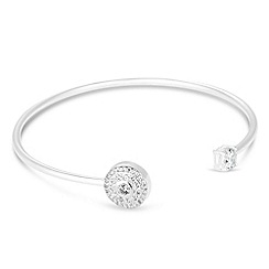 Simply Silver - Sterling silver cubic zirconia disc open bangle