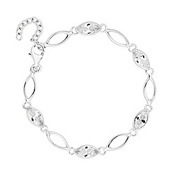 Simply Silver - Sterling silver cubic zirconia navette link bracelet