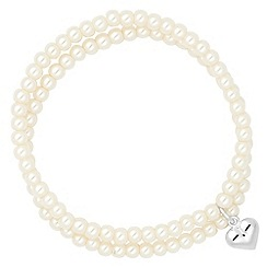 Simply Silver - Sterling silver heart charm pearl stretch bracelet