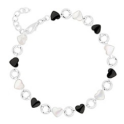 Simply Silver - Sterling silver onyx and mother of pearl heart drop bracelet