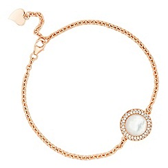 Simply Silver - Rose gold mother of pearl round link bracelet