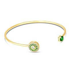 Simply Silver - Gold plated sterling silver green embellished disc bangle