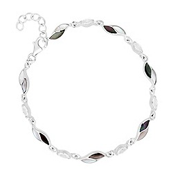 Simply Silver - Sterling silver mother of pearl encased leaf link bracelet