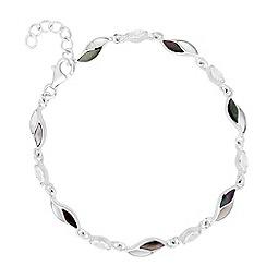 Simply Silver - Sterling silver mother of pearl encased leaf link bracelet