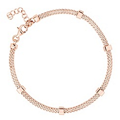 Simply Silver - Rose gold plated sterling silver bar mesh bracelet