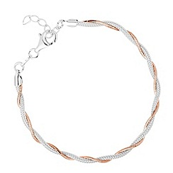 Simply Silver - Sterling silver two tone twisted chain bracelet
