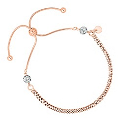 Simply Silver - Rose gold mesh chain and crystal ball toggle bracelet