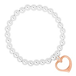 Simply Silver - Rose gold heart charm beaded stretch bracelet