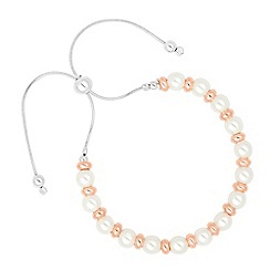 Simply Silver - Rose gold disc and pearl toggle bracelet