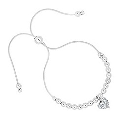 Simply Silver - Sterling silver crystal heart drop toggle bracelet