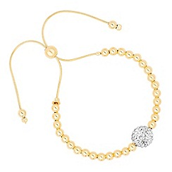 Simply Silver - Gold plated sterling silver crystal ball toggle bracelet