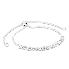 Simply Silver - Sterling silver round cubic zirconia toggle bracelet