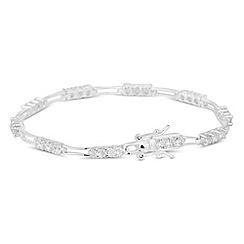 Simply Silver - Sterling silver triple cubic zirconia link bracelet
