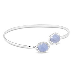 Simply Silver - Sterling silver blue lace agate and cubic zirconia bangle