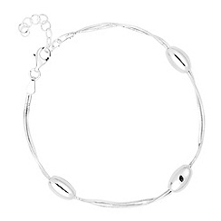 Simply Silver - Sterling silver polished bead twisted chain bracelet