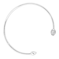 Simply Silver - Sterling silver polished and crystal encased tip bangle