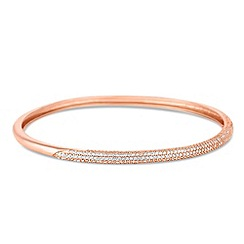 Simply Silver - Rose gold cubic zirconia embellished panel bangle