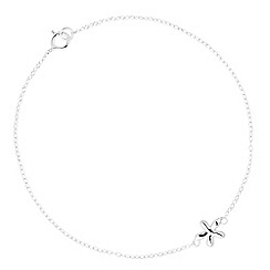 Simply Silver - Sterling silver polished flower charm bracelet