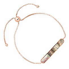 Simply Silver - Rose gold plated sterling silver grey agate bar bracelet