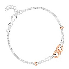 Simply Silver - Sterling silver double row bracelet with rose gold plated central link