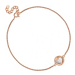Simply Silver - Rose gold plated sterling silver heart cut out bracelet with mother of pearl detail