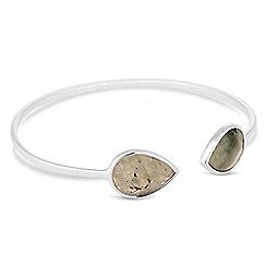 Simply Silver - Sterling silver labradorite open bangle