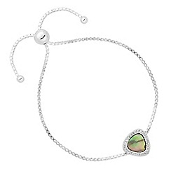 Simply Silver - Sterling silver abalone and cubic zirconia triangle toggle bracelet