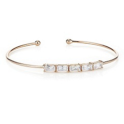 Simply Silver - Rose gold plated sterling silver cubic zirconia row bangle