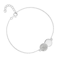 Simply Silver - Sterling silver cubic zirconia linked disc bracelet