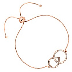 Simply Silver - Rose gold plated sterling silver linking shape toggle bracelet