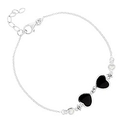 Simply Silver - Sterling silver mother of pearl double heart bracelet